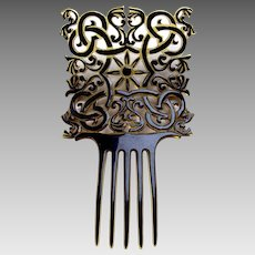 Handsome Art Deco hair comb celluloid overlay hair ornament