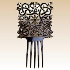 Handsome Art Deco hair comb celluloid overlay hair ornament