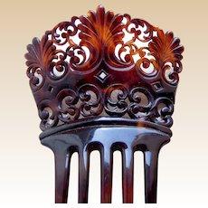 Faux tortoiseshell hair comb Victorian Spanish style hair accessory