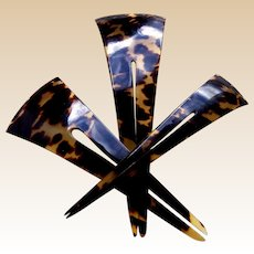 Three Victorian hair combs celluloid faux tortoiseshell hairpins