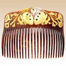 Victorian hair comb gilded decorative faux tortoiseshell hair accessory