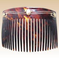Art Nouveau Murrle Bennette signed hair comb pearl hair ornament