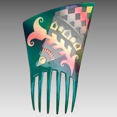 Futurist design hair comb green celluloid Art Deco Spanish hair accessory