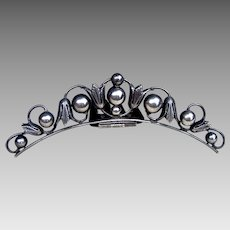 Victorian tiara style silver hair comb hinged headdress