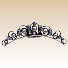 Victorian tiara style silver hair comb hinged headdress