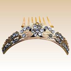 Victorian tiara style hair comb hinged rhinestone hair ornament