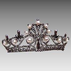 Victorian tiara style hair comb cut steel faux pearls hair ornament