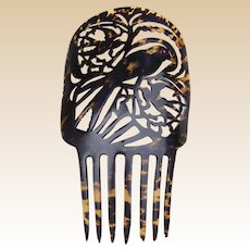 Large faux tortoiseshell hair comb Spanish style with bird