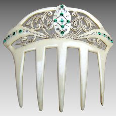 French ivory hair comb Art Nouveau style hair ornament
