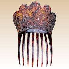 Mantilla style hair comb in pressed faux tortoiseshell hair ornament