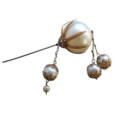 Victorian Hairpin or hatpin faux pearl dangle hair ornament - Red Tag Sale Item