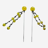 Victorian dangle type hatpins or hairpins yellow glass hat accessories (AAI)