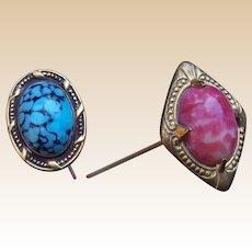 2 Victorian hat pins with cabochon stones Art Nouveau (AAM)