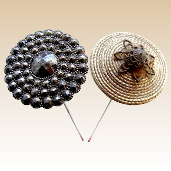 Two Victorian hat pins cut steel and decorative cord trim (AAV)