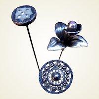 Three Art Nouveau hat pins decorative accessories