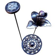 Three Art Nouveau hat pins