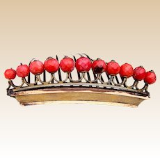 Regency coral tiara style hair comb gilded brass hair ornament