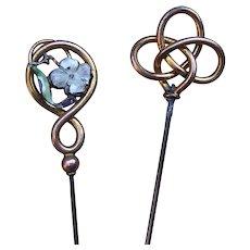 Two Art Nouveau hat pins