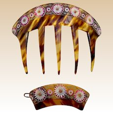 Victorian hair comb and barrette set faux tortoiseshell hair accessory