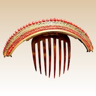 Georgian Fire Gilt Brass Tiara Hair Comb Coral Beads Hair Accessory