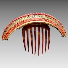 Georgian Fire Gilt Brass Tiara Hair Comb Coral Beads Hair Accessory