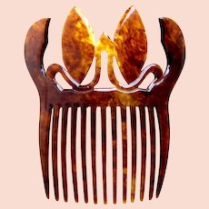 Victorian faux tortoiseshell hair comb flames design hair ornament