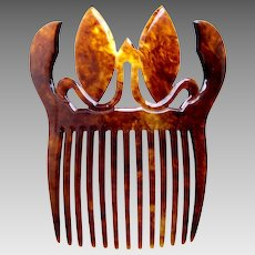 Victorian faux tortoiseshell hair comb flames design hair ornament