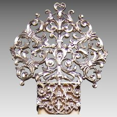 Sterling silver hair comb late Victorian filigree hair accessory