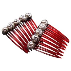 Matched pair Mexican hair combs silver trim hair accessories (AAC)