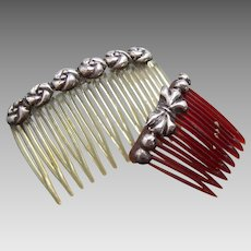 A pretty pair of Mexican side combs with silver trim hair accessories (AAA)