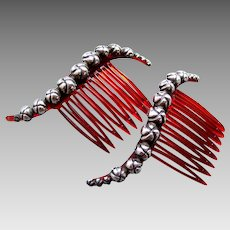Matched pair of Mexican hair combs silver topped hair accessories (AAE)