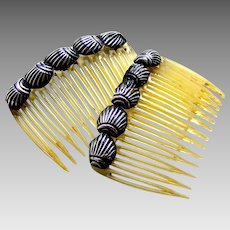 Matched pair Mexican hair combs mid century hair accessories )AAG)