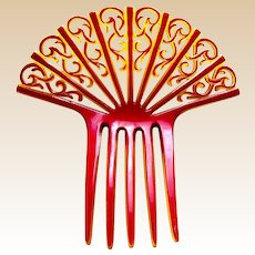 Art Deco hair comb hot red Spanish style hair accessory