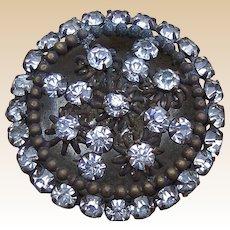 Late Victorian rhinestone encrusted circular hat pin (ACA)