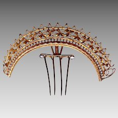 Victorian tiara style hair comb gilded metal ornamental headdress