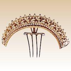 Victorian tiara style hair comb gilded metal ornamental headdress