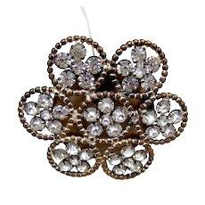 Handsome rhinestone late Victorian flower shaped hat pin (ACP)