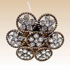 Handsome rhinestone late Victorian flower shaped hat pin (ACP)