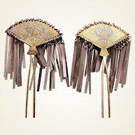 Two vintage metal hair accessories Japanese kanzashi hair pins (ADM)