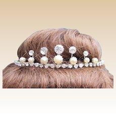 Rhinestone faux pearl tiara mid century Summer bridal hair accessory
