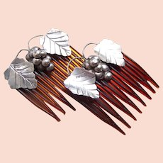 Matched pair Mexican silver top side combs grapes design hair ornament