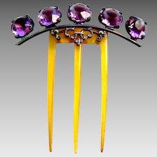 Late Victorian hair comb amethyst glass hair ornament