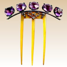 Late Victorian hair comb amethyst glass hair ornament