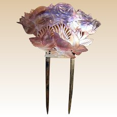 Oriental export hair comb carved mother of pearl shell hair ornament