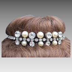 Rhinestone faux pearl bridal tiara mid century summer wedding headdress