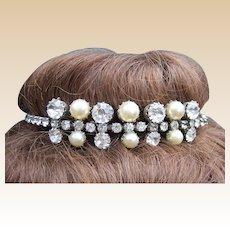 Rhinestone faux pearl bridal tiara mid century summer wedding headdress