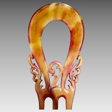 Victorian hair comb amber steer horn hair accessory