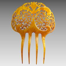 Victorian amber celluloid hair comb Spanish style hair accessory