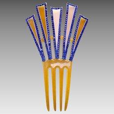 Egyptian Revival hair comb blue rhinestone Art Deco hair ornament