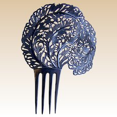 Large Art Deco hair comb black celluloid feather hair accessory